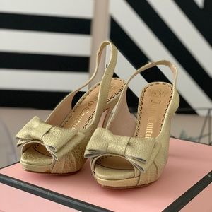 Juicy Couture gold leather peep toe heels sz 6 NWT